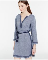 54c2a3a1ae8 Ann Taylor Chambray Embroidered Dress in Blue - Lyst