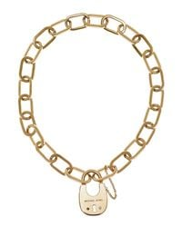 Michael Kors | Metallic Padlock Statement Pendant Necklace | Lyst