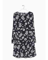 Mango | Gray Printed Flared Dress | Lyst