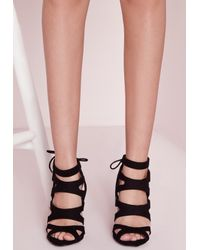 Missguided - Laser Cut Heeled Sandals Black - Lyst
