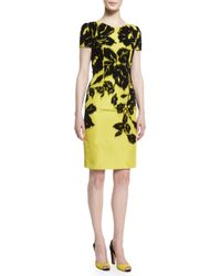 Carolina Herrera - Yellow Short-sleeve Flocked Silk Faille Pencil Dress - Lyst
