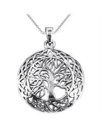 Aeravida | Metallic Mystic Celtic Frame Tree Of Life Sterling Silver Pendant | Lyst