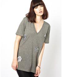 Markus Lupfer | Gray Big Polka Dot Sequin T-shirt | Lyst