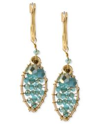 Kenneth Cole | Blue Gold-Tone Woven Teal Bead Drop Earrings | Lyst