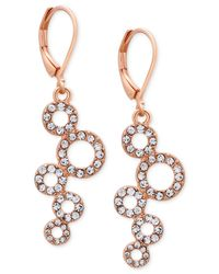 T Tahari - Pink Rose Gold-tone Pavé Squiggle Circle Drop Earrings - Lyst