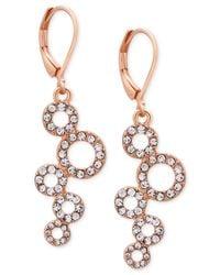 T Tahari | Pink Rose Gold-tone Pavé Squiggle Circle Drop Earrings | Lyst