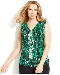 Calvin Klein - Green Plus Size Printed Cowl-Neck Top - Lyst