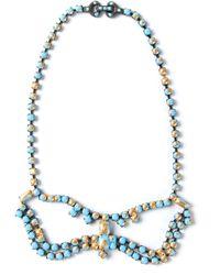 Tom Binns - Blue Crystal Bow Necklace - Lyst