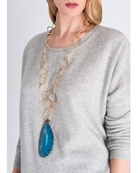 Amanda Wakeley | Metallic Malawi Blue Agate Necklace | Lyst