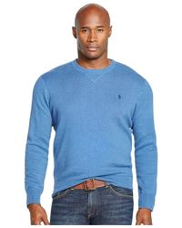 Polo Ralph Lauren | Blue Big And Tall Cotton Crewneck Sweatshirt for Men | Lyst