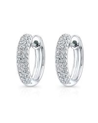 Anne Sisteron - 14kt White Gold Diamond Huggie Earrings - Lyst