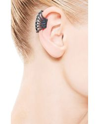 Yossi Harari - Lilah Cage Blue Sapphire Ear Cuff in Oxidized Gilver - Lyst