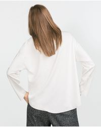 Zara | White Fine Sweatshirt With Side Vent | Lyst