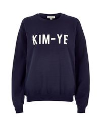 River Island | Blue Navy Kim-ye Print Sweatshirt | Lyst