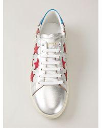 Saint Laurent - Metallic 'court Classic' Sneakers - Lyst
