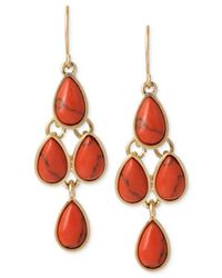 Kenneth Cole | Red Gold-tone Semi-precious Coral Bead Chandelier Earrings | Lyst