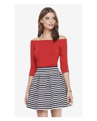 Express   Red Long Sleeve Off The Shoulder Top   Lyst