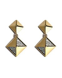 Noir Jewelry | Metallic Diamond Pyramid Stud W/ Dangling Pyramid Earring | Lyst