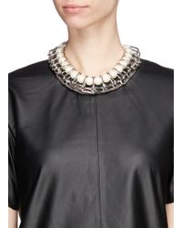 Venna - White Chain Link Resin Pearl Collar Necklace - Lyst