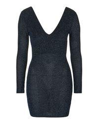 TOPSHOP | Blue V-neck Glitter Bodycon Mini Dress | Lyst