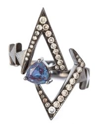 Nikos Koulis | Gray Geometric Sapphire And Diamond Ring | Lyst