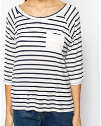 Daisy Street - Blue Stripe Breton T-shirt With 3/4 Sleeve - Lyst