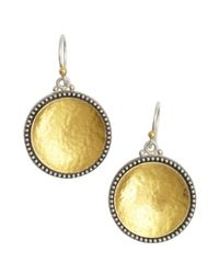 Gurhan - Metallic Silver And Gold Hammered 'Calix' Drop Earrings - Lyst