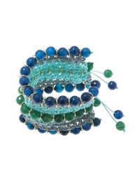 Pink Powder - Green & Blue Agate Crochet Bracelet - Lyst