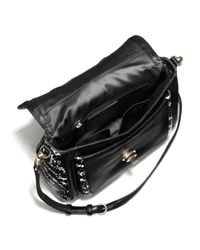COACH - Black Madison Small Sadie Flap Satchel in Two-tone Python Embossed Leather - Lyst