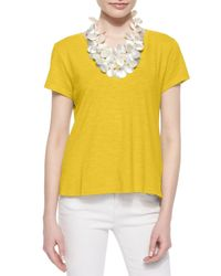 Eileen Fisher - Yellow Short-sleeve Organic Cotton Tee - Lyst