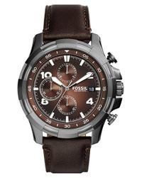 Fossil | Metallic 'dean' Chronograph Leather Strap Watch for Men | Lyst