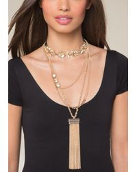 Bebe - Metallic Layered Lariat & Choker Set - Lyst