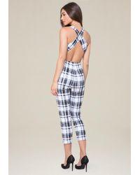 Bebe - Multicolor Plaid Open Back Jumpsuit - Lyst