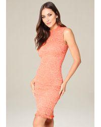 Bebe - Orange Meghan Lace Dress - Lyst