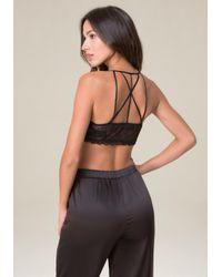 Bebe - Black Strappy Back Bralette - Lyst