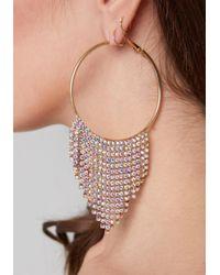 Bebe - Multicolor Crystal Trim Hoop Earrings - Lyst