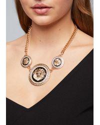 Bebe - Metallic Lion Medallion Necklace - Lyst