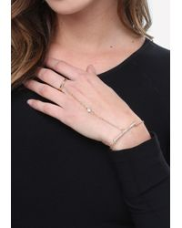 Bebe - Metallic Crystal Hand Jewelry - Lyst