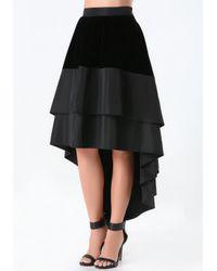 Bebe Black Velvet Hi-lo Skirt
