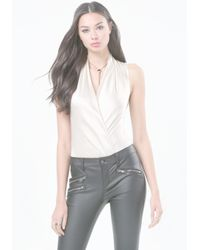 Bebe - White Silk Sleeveless Bodysuit - Lyst