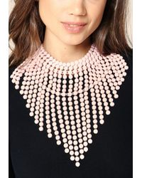 Bebe - Pink Fringe Necklace - Lyst