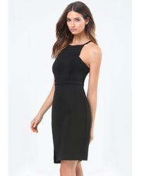 Bebe - Black Slant Slit Strappy Dress - Lyst