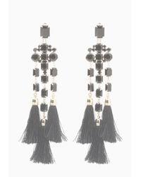 Bebe - Black Faux Onyx Fringe Earrings - Lyst