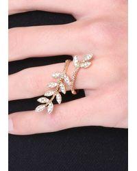 Bebe | Metallic Crystal Leaf Cocktail Ring | Lyst