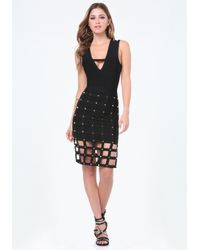 Bebe | Black Sia Cage Skirt Dress | Lyst