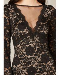 Bebe - Black Lace & Mesh Deep V Dress - Lyst