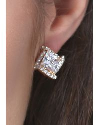 Bebe - Multicolor Square Crystal Earrings - Lyst