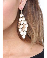 Bebe - Metallic Petal Chandelier Earrings - Lyst