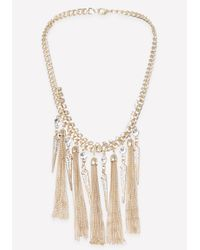 Bebe - Metallic Tassel & Spike Necklace - Lyst