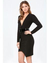 Bebe - Black Rachel Deep V Shirred Dress - Lyst